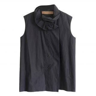 Lanvin Silk Grey Ruffle Neck Blouse