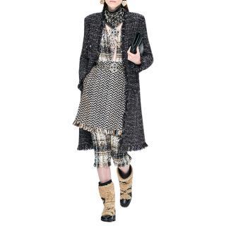 Chanel Runway Tweed Knit Fringed Coat