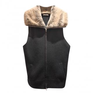 N Peal black cashmere Gilet with Fox Fur Collar