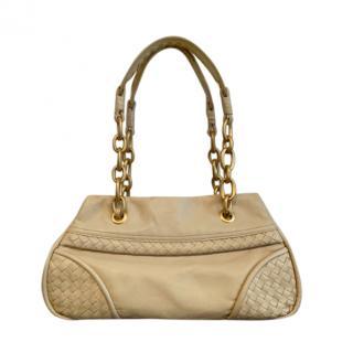 Bottega Veneta Ecru Intrecciato & Smooth Leather Handbag