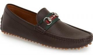 Gucci Brown Leather Web Stripe Driving Loafers