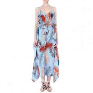Emilio Pucci Blue Feather Print Chiffon Midi Dress