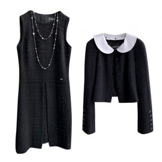 Chanel Black Tweed Sleeveless Dress & Little Black Jacket