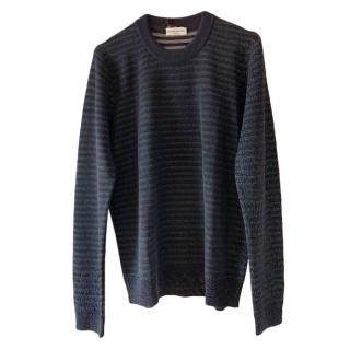 Sonia Rykiel Blue/Black Striped Lurex Knit Jumper