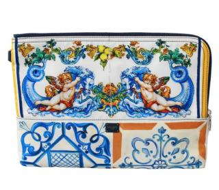 Dolce  & Gabbana Majolica Print Zip Pouch