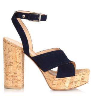 Gianvito Rossi Blue Suede Suzie Platform Sandals