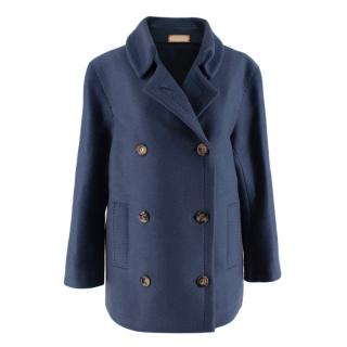 Franck Namani Blue Cashmere Double Breasted Jacket