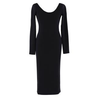 Frances De Lourdes Black Organic Cotton Knit Fitted Dress
