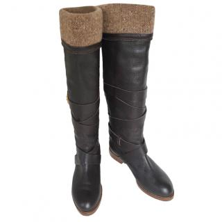 Chloe Leather & Tweed Paddington OTK Boots