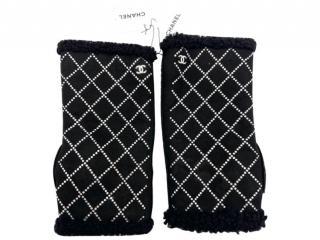 Chanel Crystal Embellished Suede Fingerless Gloves