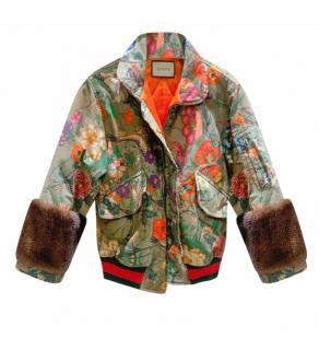 Gucci Khaki Floral Print Mink Trimmed Jacket