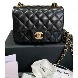 Chanel black lambskin mini square shoulder/crossbody bag