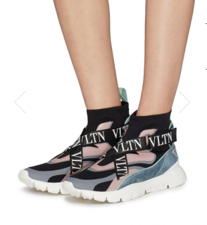 Valentino heroes Her' Logo Strap Sock Knit High Top Trainers