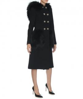Dolce & Gabbana fox fur hood embellished black coat