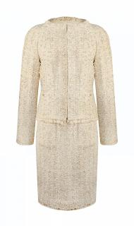Chanel metallic pastel lesage tweed suit with feather trim