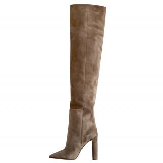 Saint Laurent Tanger Taupe suede 105 over -the-knee boots