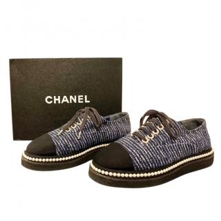 Chanel Blue Tweed Faux Pearl Trimmed Platform Trainers