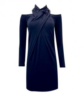 Alexander Wang Wrap Neck Cold Shoulder Navy Mini Dress