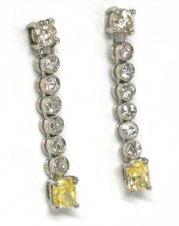 Bespoke 18ct White Gold White & Yellow Diamond Drop Earrings