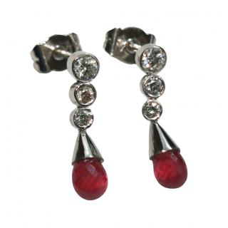 Bespoke 18ct White Gold Ruby & Diamond Drop Earrings