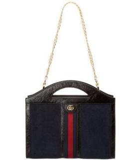 Gucci Blue/Black Suede Ophidia Top Handle Tote Bag