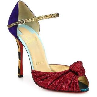 Christian Louboutin Marchavekel Glitter, Suede & Calf Hair Sandals