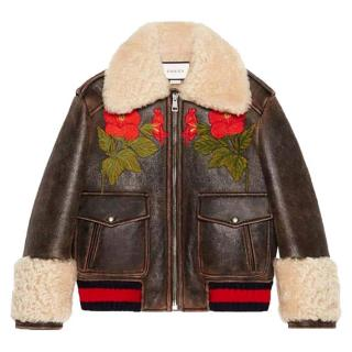 Gucci Brown Leather Embroidered Shearling Trimmed Bomber