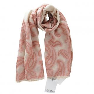 Max Mara Beige/Peach Paisley Print Wool Blend Scarf