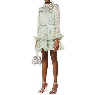 Zimmermann Mint Green Polka Dot Ruffled Silk Blend Mini Dress