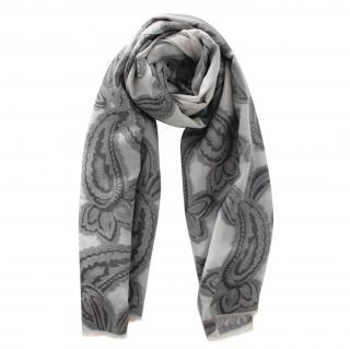 Max Mara Grey Paisley Print Wool Blend Scarf