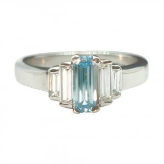 Bespoke David Simmons Henig Blue Diamond & White Diamond 5 Stone Ring
