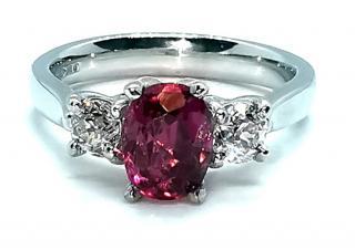 David Simmons fine pink tourmaline and diamond trilogy ring
