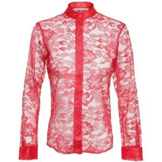 Christopher Kane Red Lace Sheer Blouse