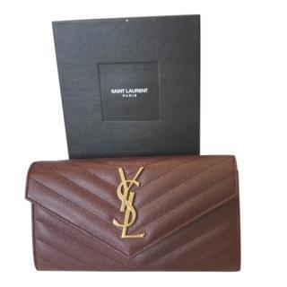 Saint Laurent rouge legion leather monogram large flap wallet