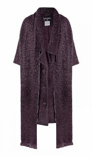 Chanel oversized purple alpaca tweed coat and wrap scarf