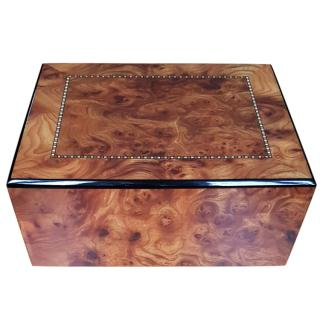 Radica burl walnut handcrafted wooden box with tray 30x24x12.5