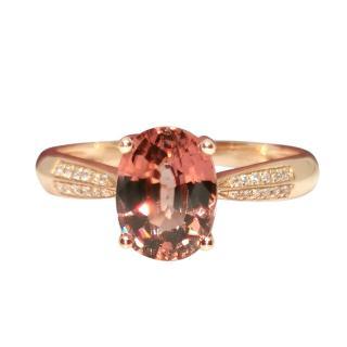 Bespoke Victoria London Diamond/Tourmaline 14ct Rose Gold Ring