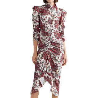 Isabel Marant Tizy ruched printed crepe de chine midi dress