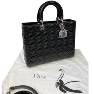 Dior Black Glossy Lambskin Large Lady Dior Bag