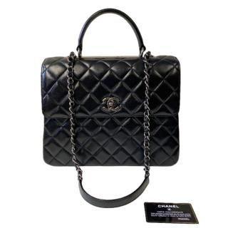 Chanel Black Lambskin CC Top Handle Flap Bag