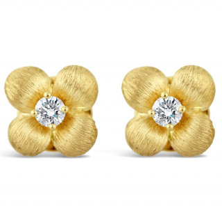 Lance James 18ct Yellow Gold Diamond Flower Stud Earrings