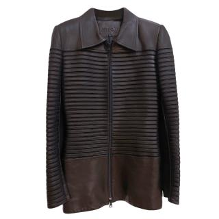 Jitrois Soft Leather Black Ribbed Effect Jacket
