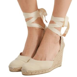 Castaner Ivory Carina Ankle Tie Espadrille Wedge Sandals