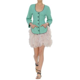Chanel Runway Turquoise Lesage Tweed Runway Jacket