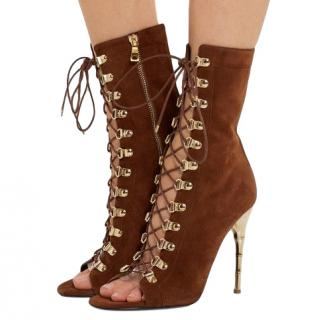 Balmain Chocolate Lace-up suede sandals
