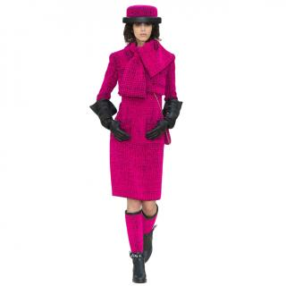 Chanel Fuchsia/Black Tweed Runway Jacket & Dress