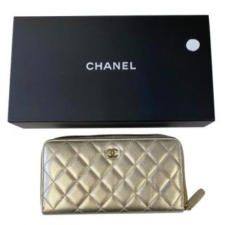 Chanel Gold Quilted Lambskin Classic Long Wallet
