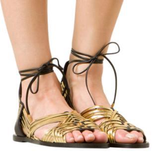 Balmain Black & Gold Matti Flat Lace-Up Sandals