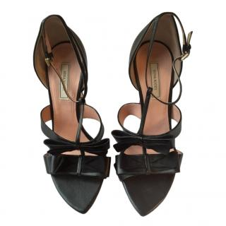 Nina Ricci black leather bow detail sandals