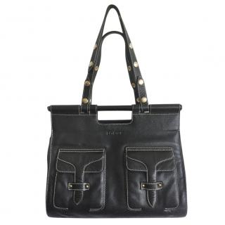 Loewe Black Vintage Contrast Stitch Shoulder Bag